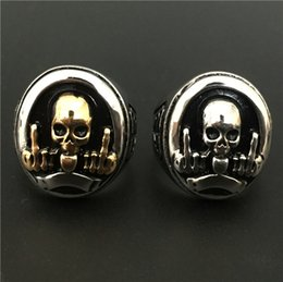 Wholesale Skull Polish - Size 7-11 Fashion Jewelry Cool Golden Silver FTW Middle Finger Skull Ring 316L Stainless Steel Hot Polishing Sheild Biker Ring