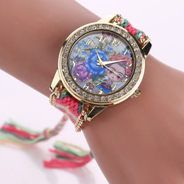 Wholesale Round Friendship Bracelets - Fashion Women Luxury Dress Watches Summer Style Bracelet Watch Famous Brand Women Female Handmade Braided Friendship Bracelet Watch