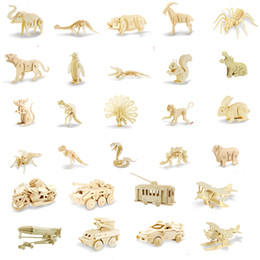 Wholesale Bike Model Toys - All style animals cars Vehicle plane bike 3D Wooden Puzzle DIY Simulation Model Children Educational Toys 3D Kids Gifts Free Shipping