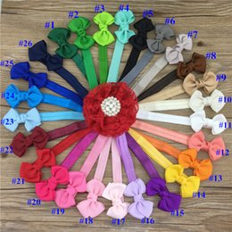 Wholesale Cute Ribbon Bows - 2.5inch hair ribbon bow with baby headbands cute boutique ribbon bows with girls headbands for hair accessories 26pcs lot