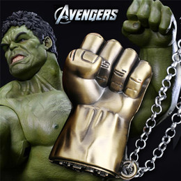 Wholesale Hulk Cosplay - Popular European And American Hulk Necklace Fashion Movie Cosplay 3D Fist Pendant Necklace Leather Chain Dual Purpose Jewelry Key Chain