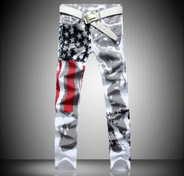 Wholesale Graffiti Skinny Jeans - 2016 Men Slim Jeans American Flag Printed Jeans Mens Graffiti Print Casual Denim Trousers Plus Size29-42