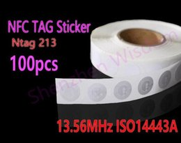 Wholesale Tags Stickers Wholesale - Wholesale-100pcs Lot NTAG213 NFC Tags 13.56MHz ISO 14443A All NFC Phone Available NFC Tag Sticker Adhesive Labels