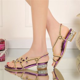 Wholesale Crystal Gold Heels - Low Heel Rhinestone Sandals 2016 Ladies Summer Shoes Crystal Flower Wedding Party Shoes Purple Gold Black Color Large Size 9 10