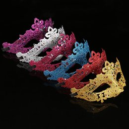 Wholesale Masquerade Halloween Costume - Party Mask With Gold Glitter Mask Venetian Unisex Sparkle Masquerade Venetian Sexy Mask Mardi Gras Costume 17082102