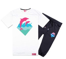 Wholesale Green Printing Services - 2017 Pink dolphin short-sleeved pant suit men's cotton short sleeved T-shirt Korean fashion men's music Headset wholesale class service