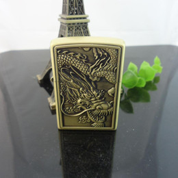 Wholesale Dragon Lighters - Original China dragon Flint Lighter Classic Copper Lighters Petrol Lighter