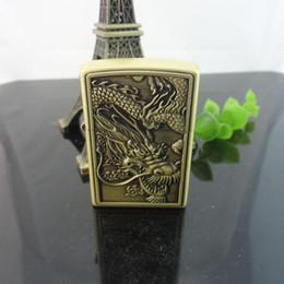 Wholesale Classic Oil - Original China dragon Flint Lighter Classic Copper Lighters Petrol Lighter