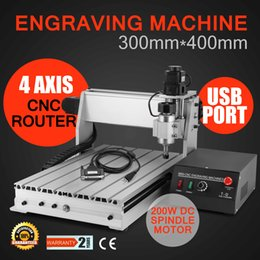 Wholesale Router Sales - Wholesales USB CNC ROUTER metal engraving machine CUTTER 4 AXIS 3040T Hot Sales 110 220v Engraving Drilling and Milling