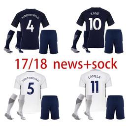 Wholesale White Child Suits - 17 18 soccer jerseys kids kit ERIKSEN Tottenhames DELE ALLI football shirt 2017 2018 SON KANE Camiseta DEMBELE children suit+sock