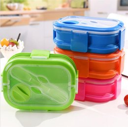 Wholesale Fruit Forks - 800ml Silicone Lunch Boxes with Fork Food Storage Containers Household Food Fruits Holder Camping Road Trip Portable Houseware YYA303