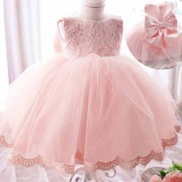 Wholesale Korean Style For Autumn - 2016 Christmas Dresses for Girls with Big Bow Tutu Flowers Crochet Lace Dress Korean Style Baby Girl Princess Dress Sleeveless Long Sleeve