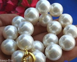 Wholesale South Sea Bracelets - 2016 hot buy pearl jade bracelet ring earring necklace Pendant >>>16mm south sea white Shell Pearl Necklace AAA