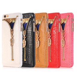 Wholesale Brown Diamond Pendant - Luxury PU Leather Case Diamond Zipper Pendant Case Bling Bling Case For Iphone 7 6S 5S DHL Free SCA195