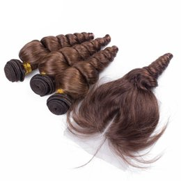 Wholesale Medium Top Hair Piece - Wholesale Unprocessed Peruvian Hair With 4x4 Lace Closure Pure Color #4 Medium Brown Human Hair Weave Loose Wave With Top Closures Piece