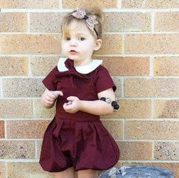 17ca22a5df1e New Baby Girls Cotton Rompers Bowknot Short Sleeve Bloomers Overalls  Jumpers Girl Onesies Children Rompers 3517