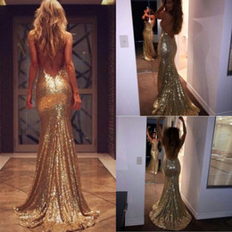 Wholesale Sheath Backless Bridesmaid Dresses - 2016 Gold Sequin Evening Dresses New Sexy Spaghetti Backless Mermaid Prom Dresses Long Bridesmaid Dresses Custom Made Formal Evening Gowns
