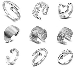 Wholesale Adjustable Ring Nail - 925 Sterling Silver Jewelry Rings Dolphins Of The Angel Love Heart Nail Opening Adjustable Ring For Women Free Shipping