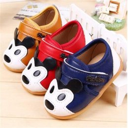 Wholesale Shoes Baby Dog - 2015 New coming baby leather shoes cute animal dog mouse pattern blue yellow red toddler shoes
