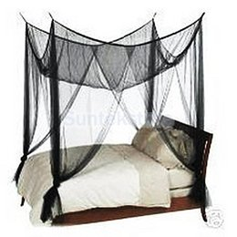 Wholesale Mosquito Net Canopy Queen Size - Wholesale-Black 4(four) Corner Canopy Bed Netting Mosquito Net Full Queen King Size Bed