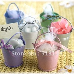 Wholesale Wholesale Tin Buckets Pails - 100pcs lot +FREE SHIPPING! Mix Colros Mini Tin Pails candy mini bucket favors, candy package,party supply