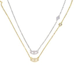 Wholesale Evil Eye Cross Charm - 2017 factory fine 925 sterling silver gold plated micro pave cz tiny cute evil eye cz cross link dainty delicate thin silver chain necklace