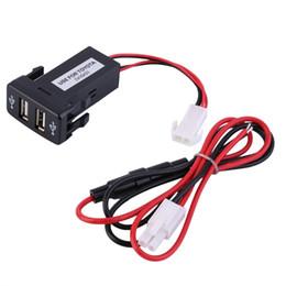Usb 12v ladegerät 5v 1a online-Dual 2 USB Autoladegerät 12V USB Port Intelligenter Ladeadapter 5V 2.1A / 1A für Telefon für Toyota VIGO Autoladegerät Audioeingang