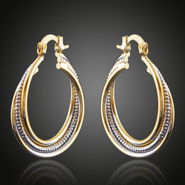 Wholesale Jewellery Silver Copper - Brass Copper Plated Double Color Golden&Silver Cable Circles Stud Hoop Earrings Fashion Jewelry Women Accessories China Jewellery Wholesale