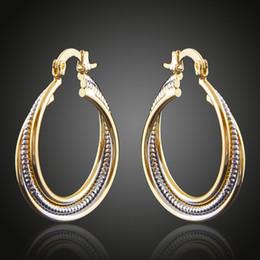 Messing Kupfer Überzogene Doppel Farbe GoldenSilver Kabel Kreise Stud Creolen Modeschmuck Frauen Zubehör China Schmuck Großhandel von Fabrikanten