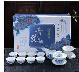 Wholesale Bone Porcelain Cup Set - Kung fu tea set of a complete set of blue and white porcelain ceramic cups tea tureen travel specials Z018