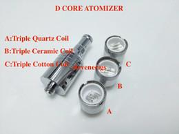 Wholesale Cotton Cartomizer - D-CORE Triple coils wax Quartz atomizer Ceramic Cotton rob wax vaporizer wax cartomizer electronic Cigarette VS Dual Coil Skillet Cannon