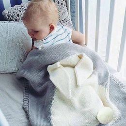Wholesale Gift Wrap Big - 120*75cm Baby Toddler Bedding Knitted Baby Blanket Wrap Soft Blankets Newborn Big Rabbit Ear Swaddling Kids Gift Girls Blankets