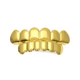 Griglia di denti hiphop online-REAL SHINY New Gold 18k Gold Rhodium Plated HipHop Denti Grillz Caps Top Bottom Grill Set per uomo