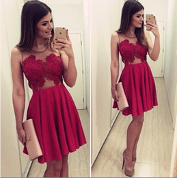 Wholesale Elegant Sexy Sweetheart Mini Dress - Celebrity Cocktail Dresses Dark Red Sexy Mini Short 2016 Prom Party Gowns For Girls Sheer See Through Elegant Graduation Dress