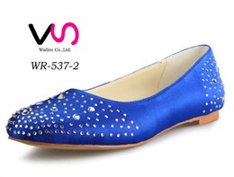 Wholesale Black Satin Ballet Flats - Royal Blue Color Rhinestones Comfortable Falt Women Bridal Wedding Shoes Wedding Dress Shoes From Size 35-Size 42 Any Color is accepted