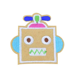 Wholesale Kids Cartoon Embroidery - 10PCS Robot Patches for Clothing Bags Iron on Transfer Applique Cartoon Patch for Kids Jeans DIY Sew on Embroidery Badge