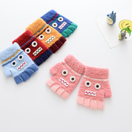 Wholesale Children Gloves Wool - 2017 Autumn Winter New Wholesale Children Finger Gloves Cartoon robot boys girls Winter Gloves Fashion Wool Gloves baby Wear Baby Gift A1148