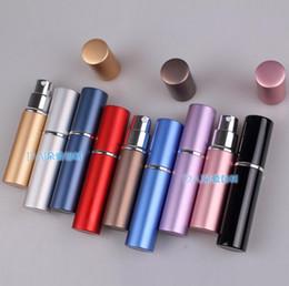 botellas de spray de lujo Rebajas Mini botella de spray portátil de lujo botellas de perfume vacías de colores 6 ml Perfume recargable atomizador accesorios de viaje 9 colores regalo