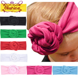 Wholesale New Baby Girl Gifts - Nishine New Baby Rose Cotton Blend Headwraps Winter Warm Turban Girls Tie Knot Headband Bandeau Bebe Christmas Gift