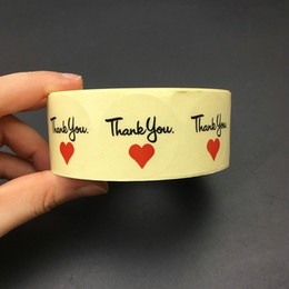 Wholesale Heart Roll - 500pcs lot Total Per Roll Transparent Thank you with red Heart Sealing Sticker 30mm