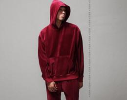 Wholesale hoodies woman velour - New Fashion Men Women Hip Hop Velour Velvet Pullover Tracksuit Kanye Hoodie Streetstyle Casual Sweatshirt For Man Women