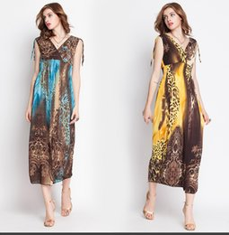 Wholesale Maxi Long Dress Leopard Print - Free shipping Fashion 4 colors Women Bohemia Short Sleeve Mopping Floor Leopard Printed Maxi Long Beach Dress