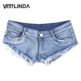 Wholesale Sexy Ripped Jeans - Wholesale- VESTLINDA Sexy Women Jeans Woman Denim Shorts 2017 Fashion Low Waist Zipper Fly Skinny Ripped Jeans Shorts Female Summer Wear