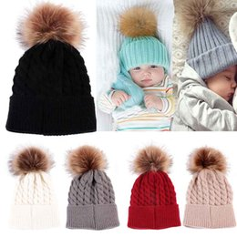Wholesale Newborn Red Cap - Newborn Cute Winter Baby Hat Fur Ball Pompom Cap Kids Girl Boy Winter Knitted Wool Hats Caps for Girls Hemming Hat Beanies