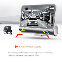 "Wholesale Dual Rear View Camera - 2017 New 4.0"" Car DVR Camera car cameras Dual Lens with Rear view Registrar three camera Night vision car dvrs Video dashcam Camcorder"