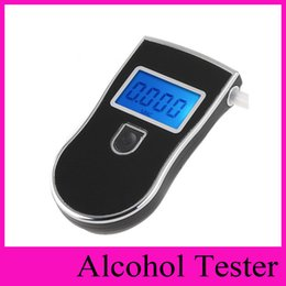 Wholesale Digital Breath Alcohol Tester Mouthpieces - NEW Professional Police Digital Breath Alcohol Tester Breathalyzer blacklight AT818 LCD Display Key Chain testers+ mouthpieces