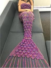 manta de cama de acrílico Rebajas 40 colores 190 * 85 cm Cosplay Mermaid Manta Manta de Punto Hecha A Mano de Las Mujeres Saco de Dormir Ropa de Cama Suave Manta de Cola de Sirena de Acrílico Suave