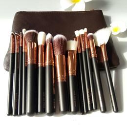 Wholesale Foundation Piece - high quality HOT NEW brand Brushes Makeup 15 piece Professional Brushes Kit Foundation Brush Luxury Bag Black free shipping