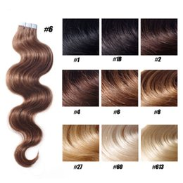 "Wholesale Tape Hair Extensions Blonde Mix - Grade 7A-- indian virgin human hair body wave 16""-26"" PU tape in hair Extensions Skin weft hair 100g pack 40pcs dhl free"