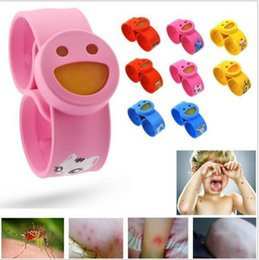 Wholesale Silicone Bracelet Mosquito - Smile face silicone Mosquito Repellent Bracelets Pure Natural kids Snap Slap Hand Ring anti-mosquito silicone Wristband candy jelly color